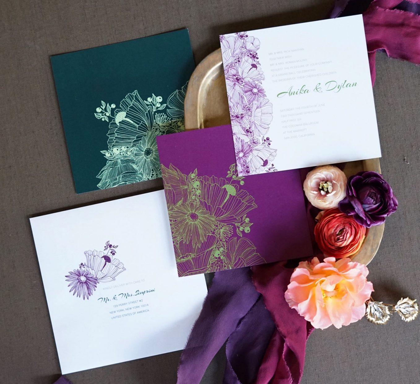 Square Floral Invitations