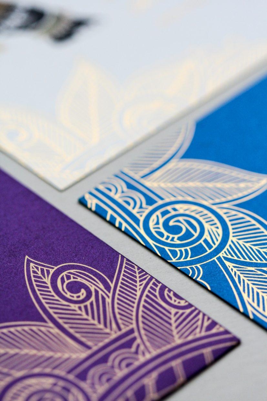 jewel toned teal, ivory and royal purple custom invitation   AZURE