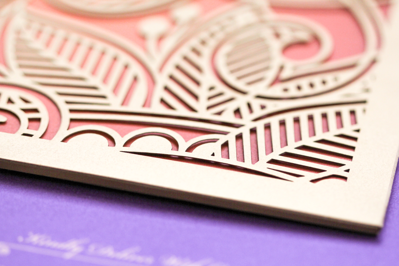 gold laser cut pocket with botanical patterns luxury indian wedding invitation   AZURE
