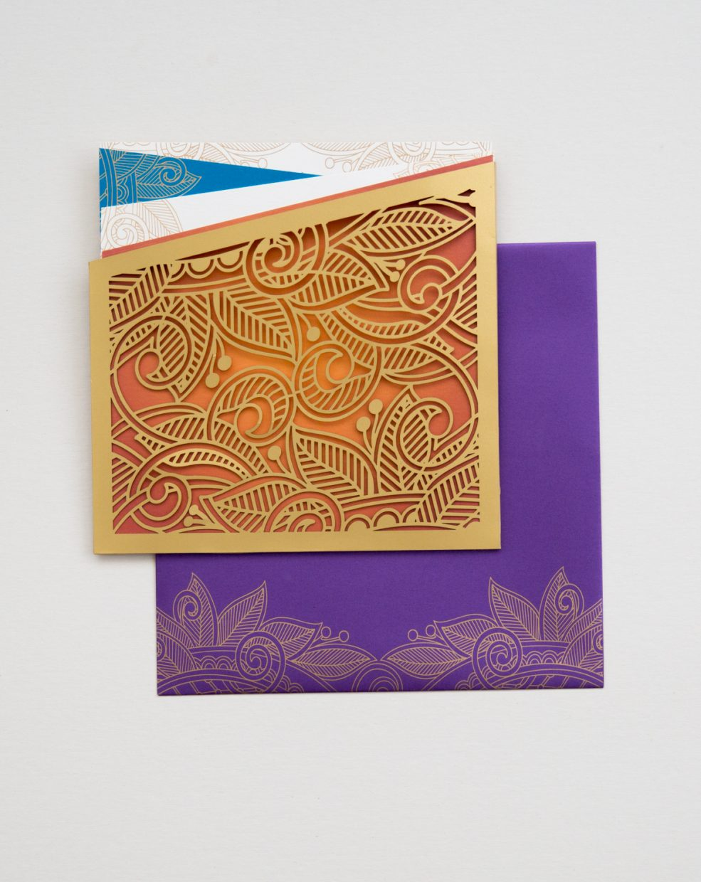 modern elephant invitation with gold foil and laser cut   AZURE