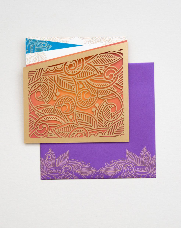lasercut botanical folio in gold luxury south asian wedding invitation   AZURE