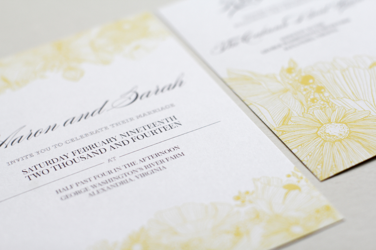 modern typography meets yellow floral design with cool grey undertones