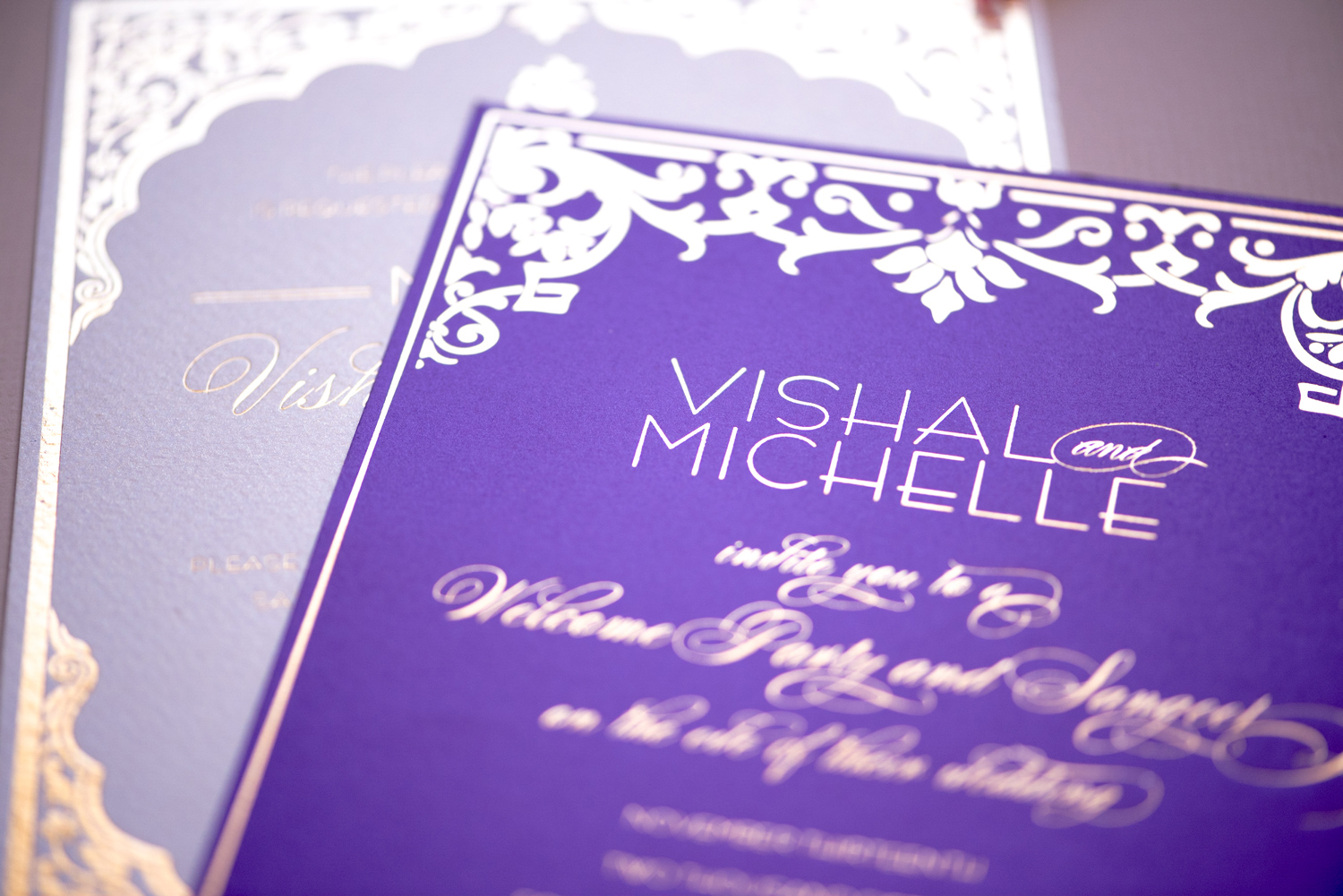 purple and gold foil luxury invitation