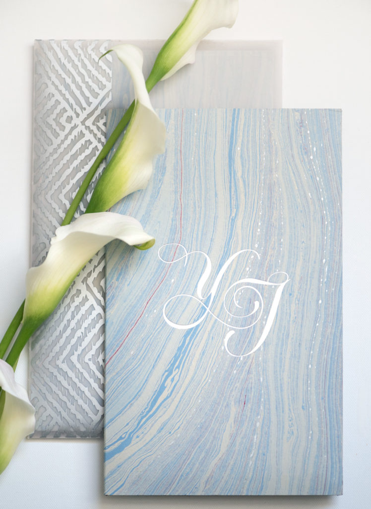 mayan inspired silver foil custom monogram ideas and marbled fair-trade paper