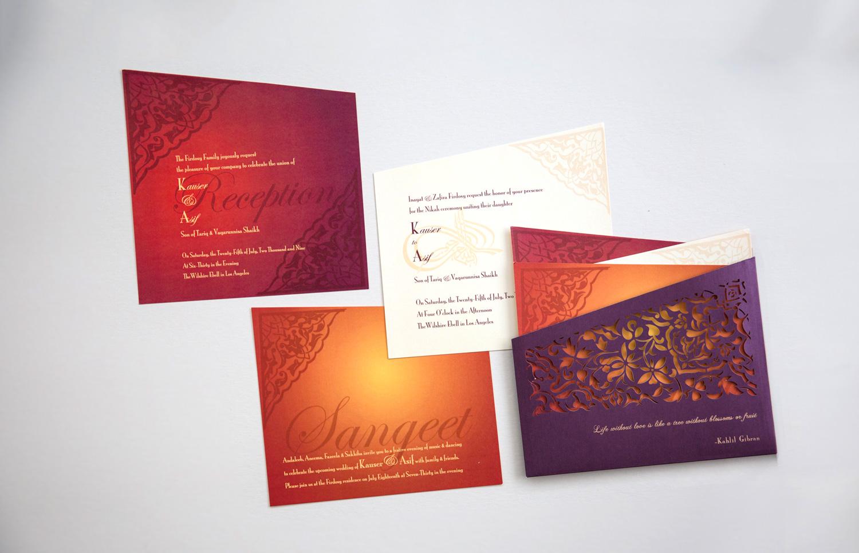 indian luxury invitation in laser cut pocket wedding invitation
