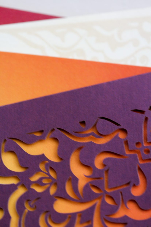 laser cut purple pocket with gold foil | AZURE