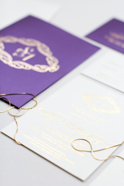 gold and ivory purple pocket with monogram invitation