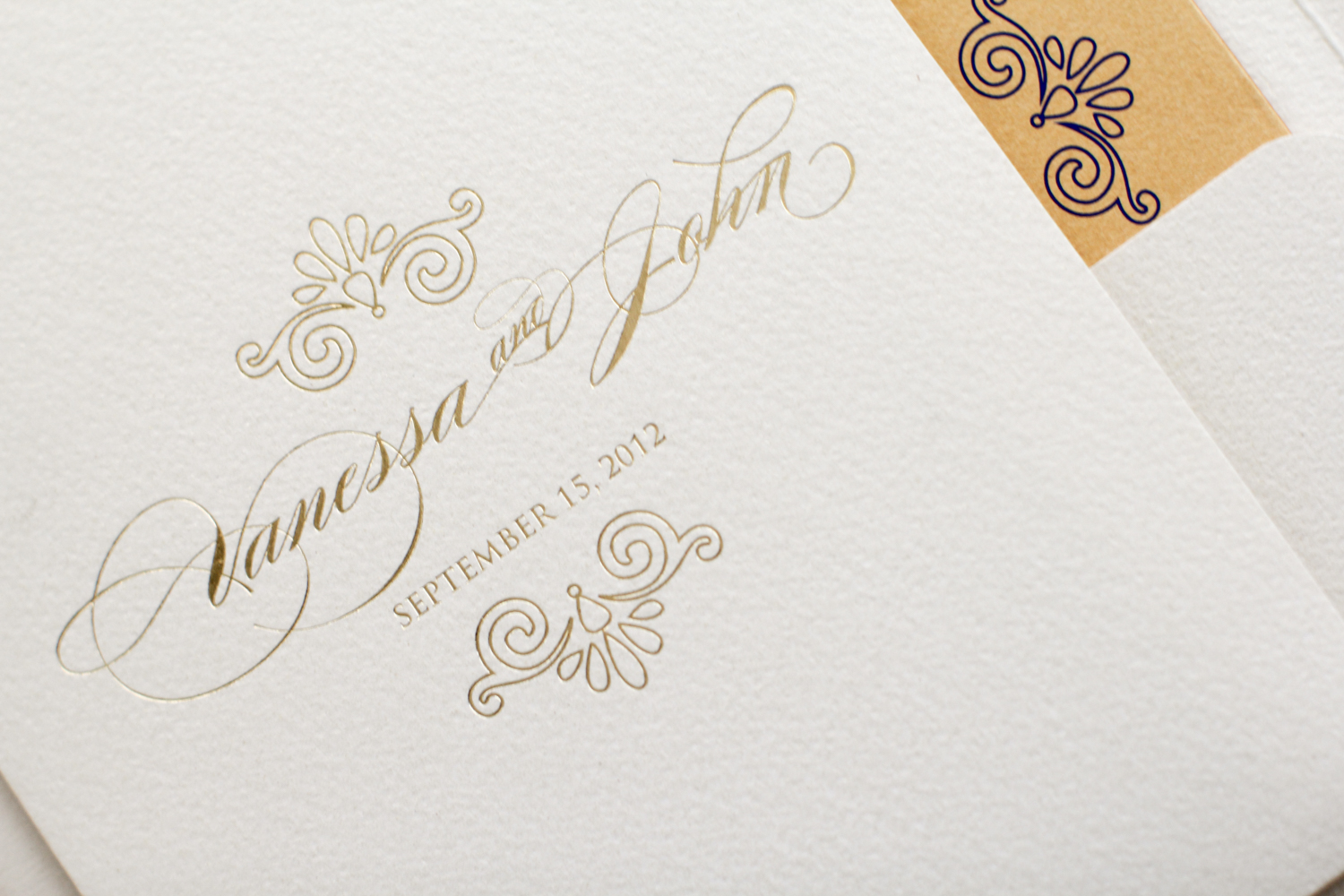 gold foil pocket invitation with seashell inspired motif | AZURE COUTURE