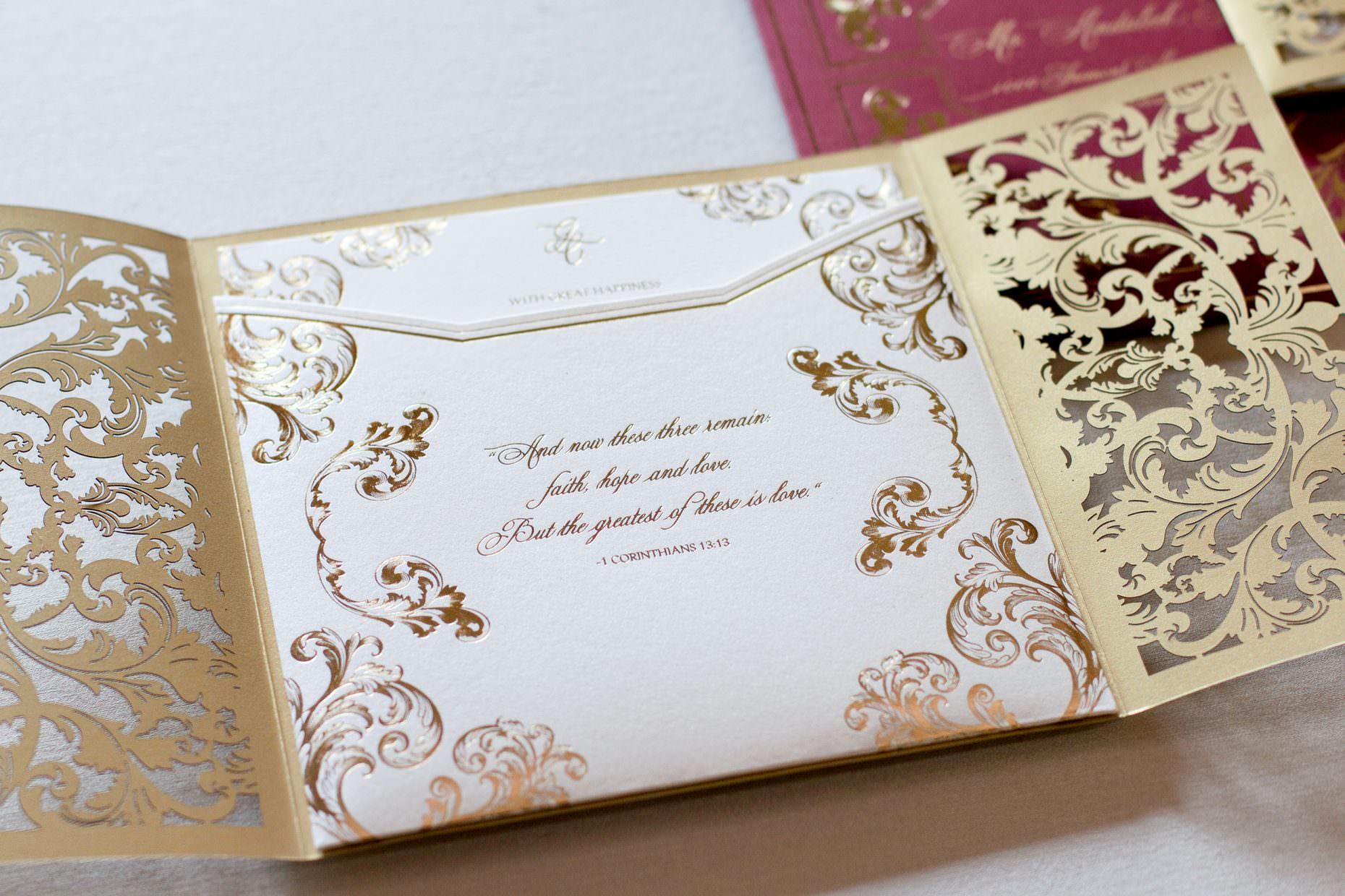 Pocket Wedding Invitation With Quote