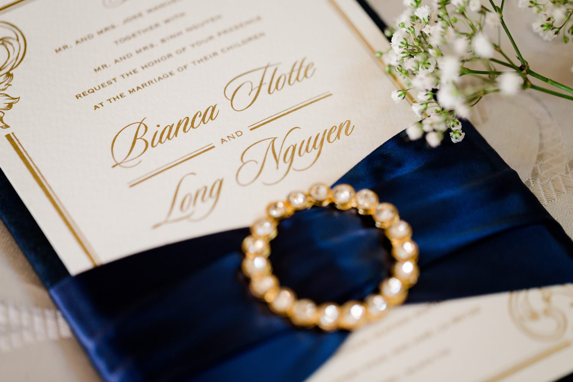 luxury multicultural wedding invitation with crystal brooch