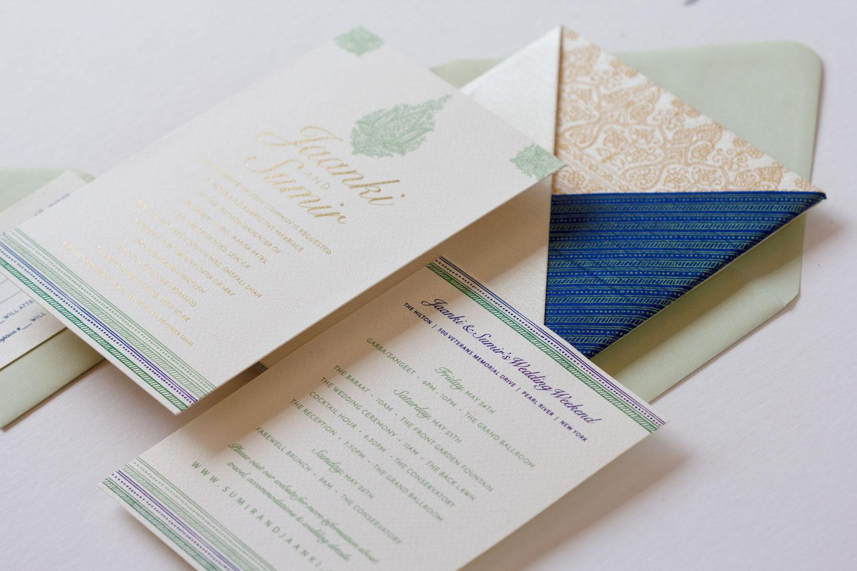 Custom pocket invitations for an NYC Indian wedding